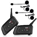 Ejeas V6Pro 2xAuriculares Intercomunicador Moto Bluetooth para Motocicletas, Gama Comunicación Intercom de 1200m, intercomunicador Casco...