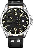 Stuhrling Original Reloj de Cuero para Hombre – Esfera de Reloj de aviación Negra, Juego rápido de día, Correa de Cuero con Remaches de...