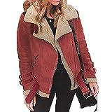 Abrigo de Lana de Piel de Invierno Mujer sintética Chaqueta de Aviador Moto de Solapa cálida de Outwear Trench Parka Jacket Capa Chaqueta...